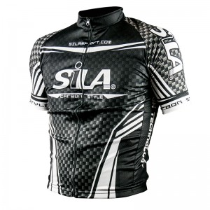 MAILLOT SILA CARBON STYLE BLANC - Manches Courtes