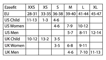 Size chart Ezeefit