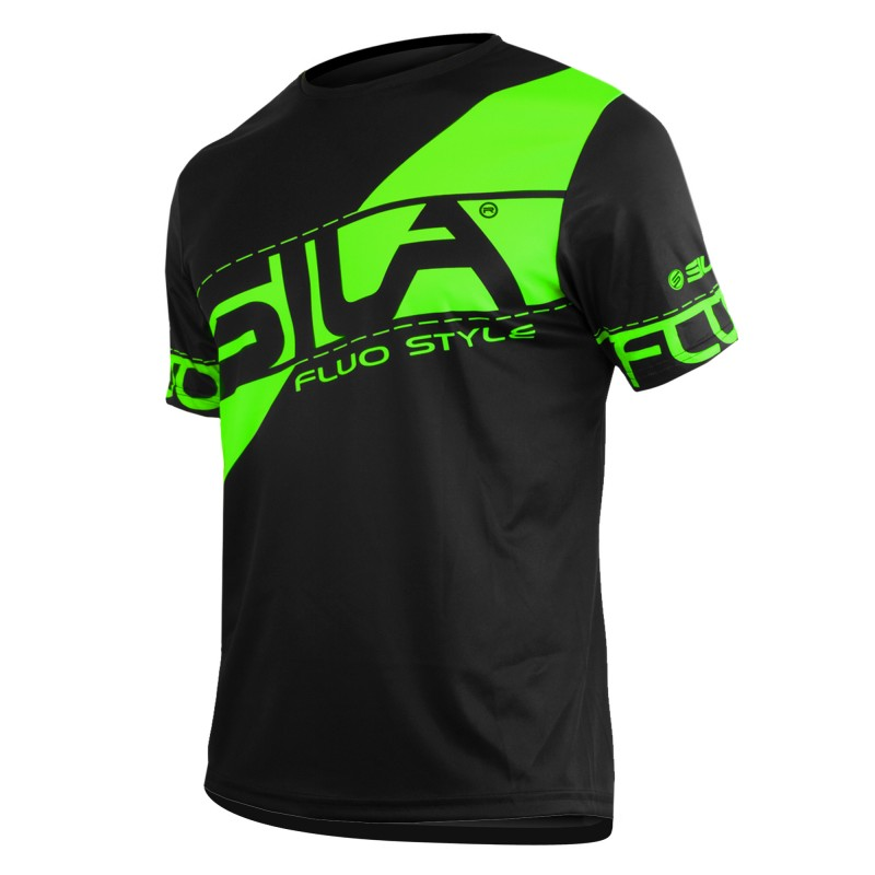 hot sale online e4f6c 9b67d RUNNING JERSEY SILA FLUO STYLE 3 GREEN- Short sleeves