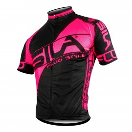 MAILLOT FLUO STYLE 3 ROSE Manches courtes
