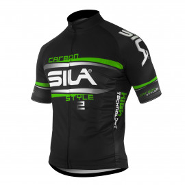 MAILLOT SILA CARBON STYLE 2 VERT - Manches courtes