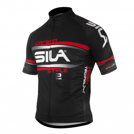MAILLOT SILA CARBON STYLE 2 ROUGE - Manches courtes