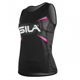 SLEEVELESS JERSEY WOMAN RUNNING PRO ULTRALIGHT - SILA TEAM - PINK FLUO