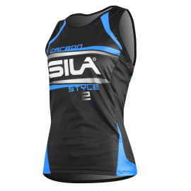 RUNNING WOMAN SLEEVELESS JERSEY SILA CARBON STYLE 2 - BLUE