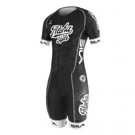 SKATING SUIT SILA ALOHA STYLE Black / White - Short sleeves
