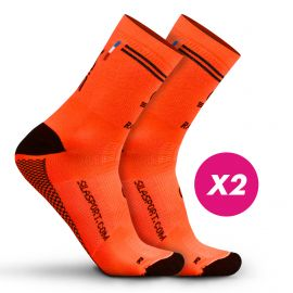 LOT DE 2 CHAUSSETTES RACING SILA - Mi-hautes ORANGE / NOIR
