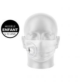 Masque de Protection SILA ORIGINE BLANC Enfants - Forme Plate - 3 couches - Réutilisable et lavable