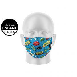 Masque de Protection SILA BANG Enfants - Forme Plate - 3 couches - Réutilisable et lavable