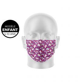 Masque de Protection SILA LICORNE Enfants - Forme Plate - 3 couches - Réutilisable et lavable