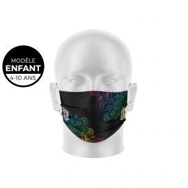 Masque de Protection SILA ALOHA NOIR Enfants - Forme Plate - 3 couches - Réutilisable et lavable