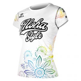 MAILLOT RUNNING FEMME ALOHA STYLE BLANC MULTICOLOR