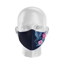 Masque de Protection SILA TROPICAL BLEU - Forme Ergo - 2 couches - Réutilisable et lavable