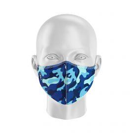 Masque de Protection SILA CAMO BLEU - Forme Coquille - 2 couches - Réutilisable et lavable