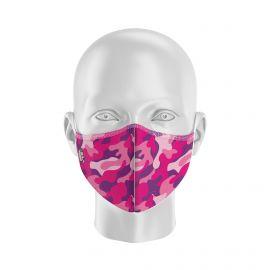 Masque de Protection SILA CAMO ROSE - Forme Coquille - 2 couches - Réutilisable et lavable