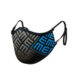 Masque tissu SILA TRIFORCE CYAN AJUSTABLE - Forme Ergo - Filtration 2 - UNS2