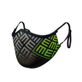 Masque tissu SILA TRIFORCE VERT AJUSTABLE - Forme Ergo - Filtration 2 - UNS2