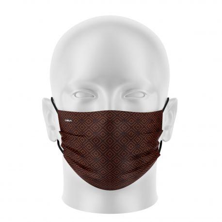 Masque tissu femme SILA ELEGANCE MARRON - Forme Plate - Filtration 1 - UNS1