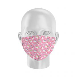Masque tissu SILA LICORNE ROSE Enfants - Forme Coque - Filtration 1 - UNS1