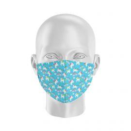 Masque tissu SILA LICORNE BLEU Enfants - Forme Coque - Filtration 1 - UNS1