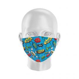 Masque tissu SILA BANG BLEU Enfants - Forme Coque - Filtration 1 - UNS1