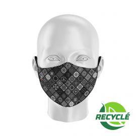 Masque tissu SILA BOHO NOIR / BLANC - Forme Ergo - Filtration 1 - UNS1