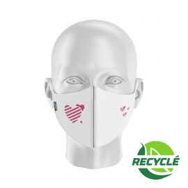 Fabric Mask SILA HEART WHITE - Shell Shape - Filtration 1 - UNS1