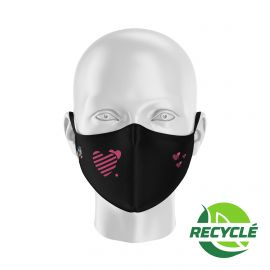 Fabric Mask SILA HEART BLACK - Shell Shape - Filtration 1 - UNS1