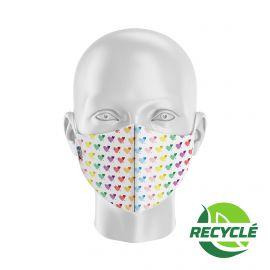 Masque tissu SILA HEART BLANC MULTICOLOR - Forme Coquille - Filtration 1 - UNS1