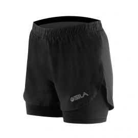 RUNNING SHORT 2 IN 1 SILA PRIME WOMEN - BLACK