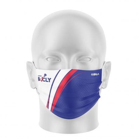Masque Barrière BADMINTON LYON - Forme plat - Réutilisable et lavable