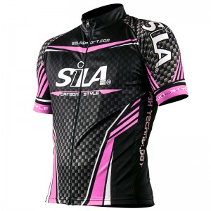 MAILLOT CARBON STYLE ROSE - Manches Courtes