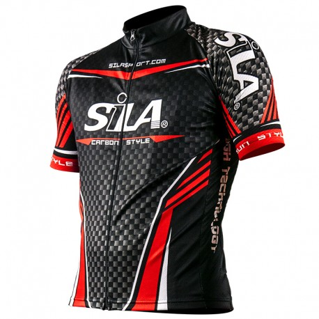 MAILLOT CARBON STYLE ROUGE - Manches Courtes
