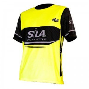 MAILLOT RUNNING SILA FLUO STYLE 2 YELLOW Manches courtes