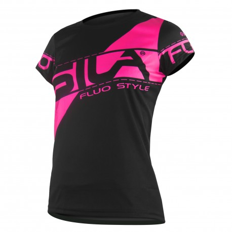taille 40 5eb4d b1d1c MAILLOT RUNNING FEMME - SILA FLUO STYLE 3 ROSE - Manches courtes